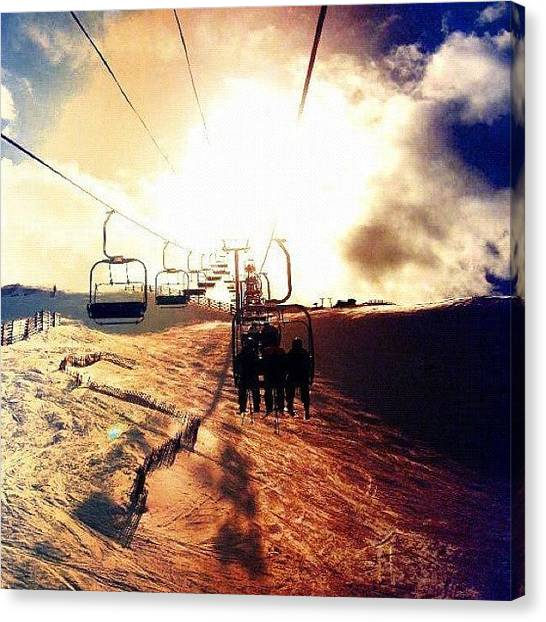 Snowboarding Canvas Print - Colorado Chairlift  by Crystal Peterson