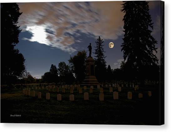 Colorado Volunteers Under The Full Moon Canvas Print by Stephen  Johnson