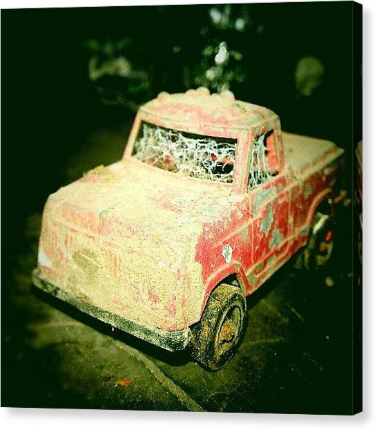 Trucks Canvas Print - Colored Version Of Creepy Toy Truck by Emma Holton