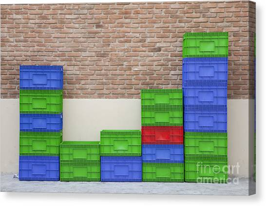 Colorful Beer Crates Canvas Print by Chavalit Kamolthamanon