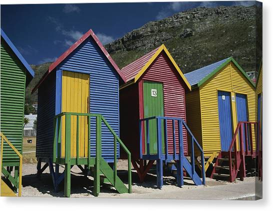 Republic Of South Africa Canvas Print - Colorful Changing Huts Line A South by Tino Soriano
