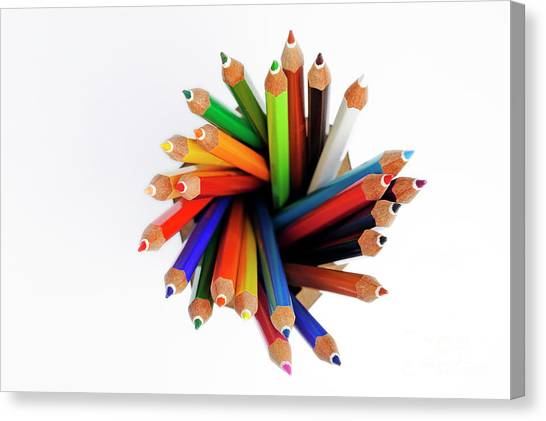 Colorful Crayons In Jar Canvas Print by Sami Sarkis