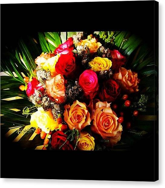 Bouquet Canvas Print - #colorful #flowers #bouquet #instagood by Omar Alzaabi