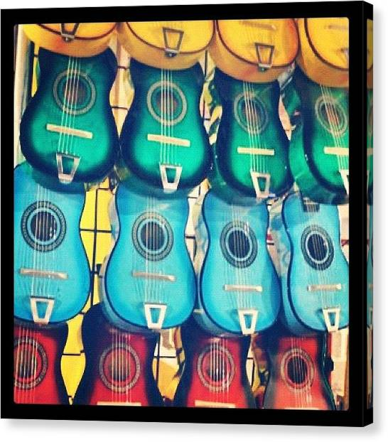 Rodeos Canvas Print - Colorful Guitars by Rebecca Shinners