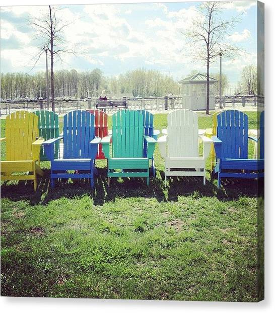 Harbors Canvas Print - #colorful #lounge #chairs #relax #view by Jenna Luehrsen