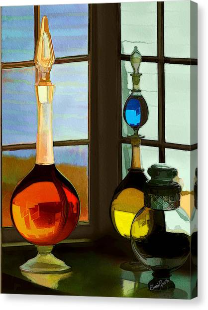 Colorful Old Bottles Canvas Print by Suni Roveto