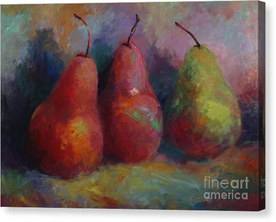 Colorful Pears Canvas Print by Sandra Leinonen Dunn