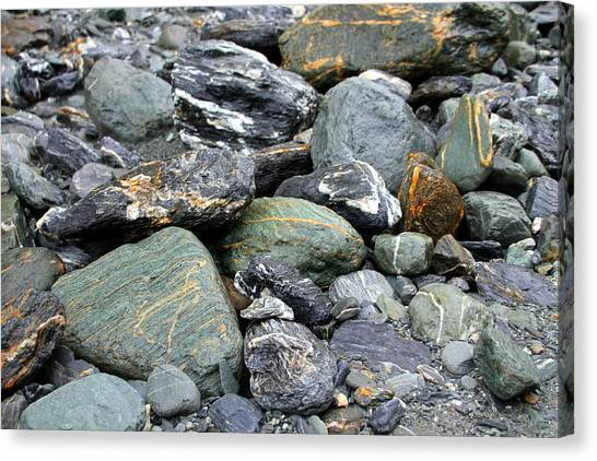 Fox Glacier Canvas Print - Colorful Rocks At Fox Glacier by Laurel Talabere