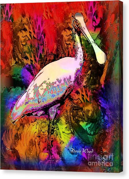 Colorful Spoonbill Canvas Print by Doris Wood