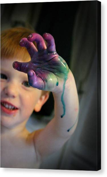 Canvas Print featuring the photograph Colorful Trouble by Kelly Hazel