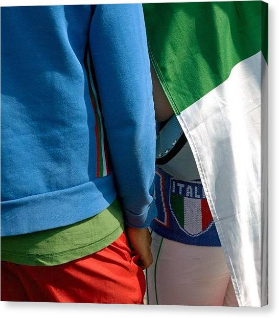 Soccer Canvas Print - Colors Of Italy - Green White And Red by Matthias Hauser