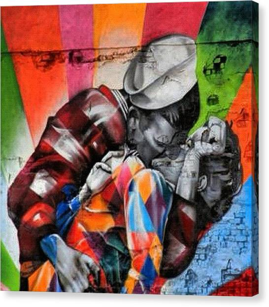 Kiss Canvas Print - #colourful #kiss #streetart Nearby The by Stoeps Meyer