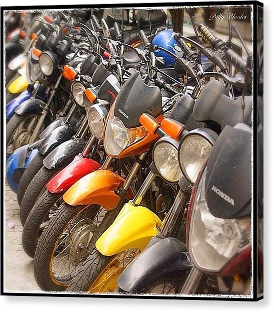Biker Canvas Print - Colourful Motorbikes #motorbikes by Polly Rhodes