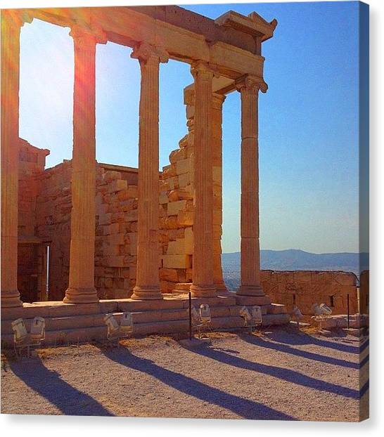 Greek Art Canvas Print - Columns Reflection #columns #reflection by Dimitre Mihaylov