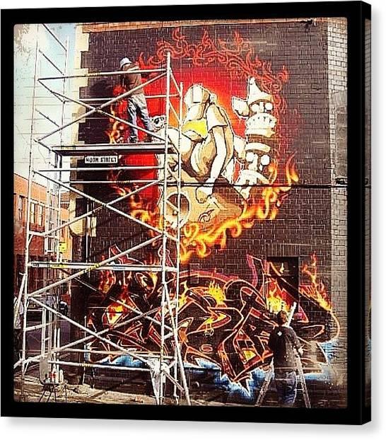 Comics Canvas Print - #comic #bee #stencilart #subwayart by Nigel Brown