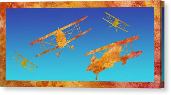 Biplane Canvas Print - Coming And Going by Jenny Armitage