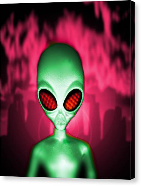 Computer Artwork Of An Alien Or Extraterrestrial Canvas Print by Victor Habbick Visions
