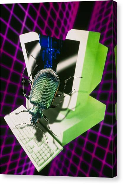 Computer Artwork Representing The Millennium Bug Canvas Print by Victor Habbick Visions