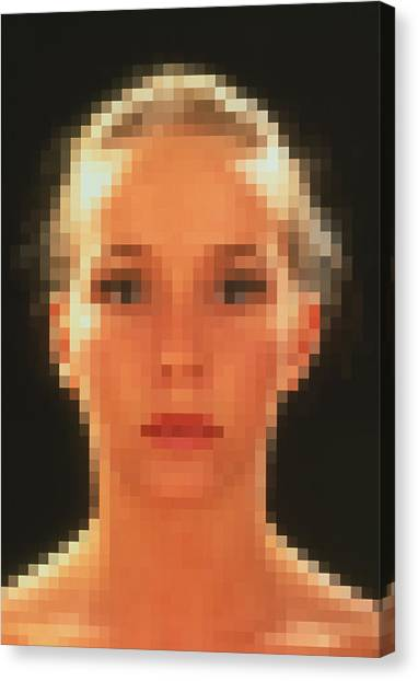 Pixelated Canvas Print - Computer Graphic Of Pixelated Face Of A Woman by Mehau Kulyk