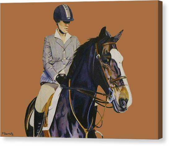 Concentration - Hunter Jumper Horse And Rider Canvas Print