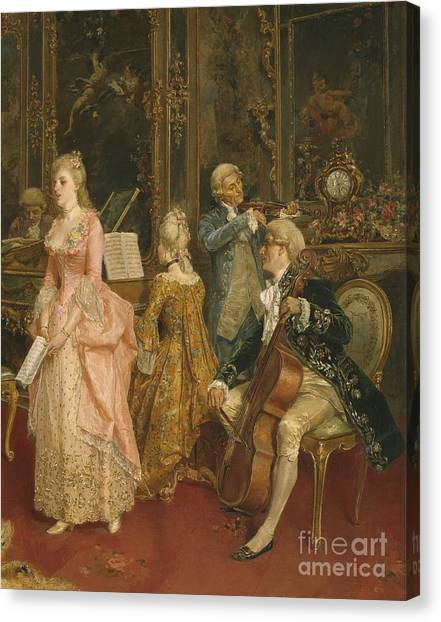 Harpsichords Canvas Print - Concert At The Time Of Mozart by Ettore Simonetti