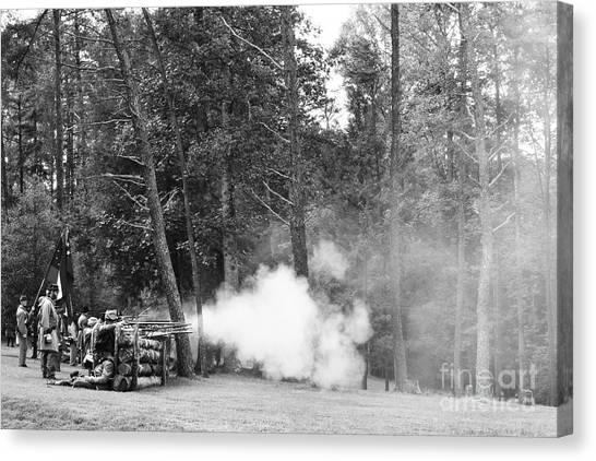 Civil War Site Canvas Print - Confederate Breastworks by Thomas R Fletcher