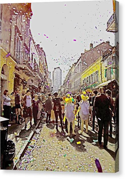 Confetti Sky On Mardi Gras Day In New Orleans Canvas Print