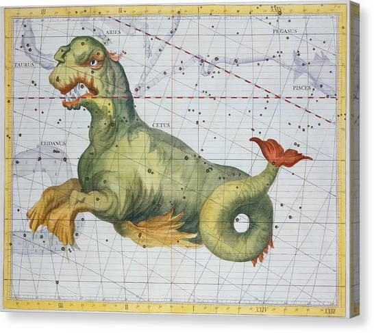 Mythological Creatures Canvas Print - Constellation Of Cetus The Whale by James Thornhill