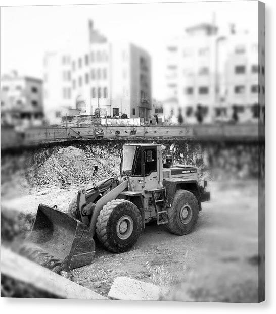 Trucks Canvas Print - #constraction #blackandwhite #bnw #bw by Abdelrahman Alawwad