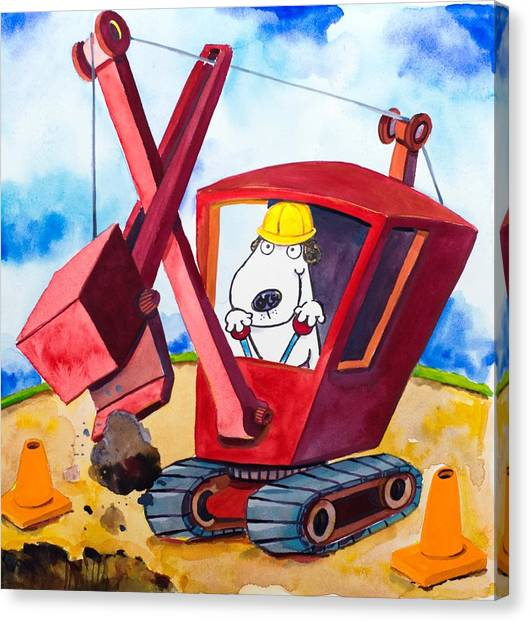 Jackhammers Canvas Print - Construction Dogs 2 by Scott Nelson