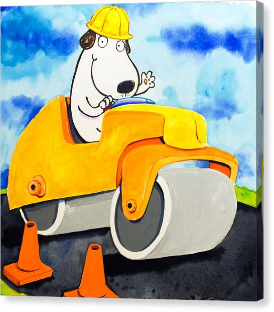 Jackhammers Canvas Print - Construction Dogs 3 by Scott Nelson