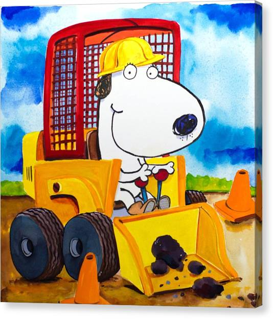Jackhammers Canvas Print - Construction Dogs by Scott Nelson