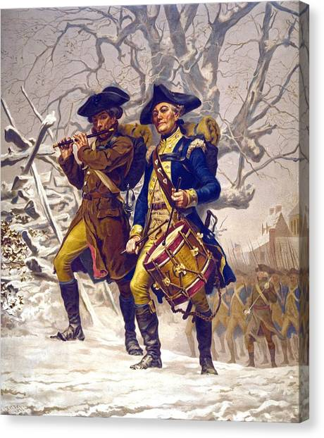 Percussion Instruments Canvas Print - Continental Army Color Guard, Playing by Everett