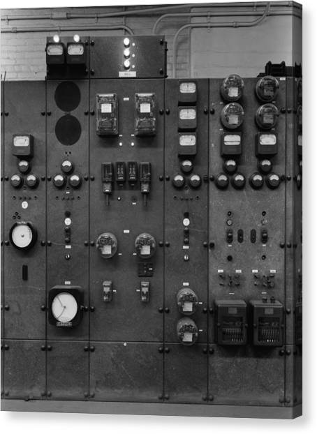 Control Panels Of The Detroit Edison Canvas Print by Everett