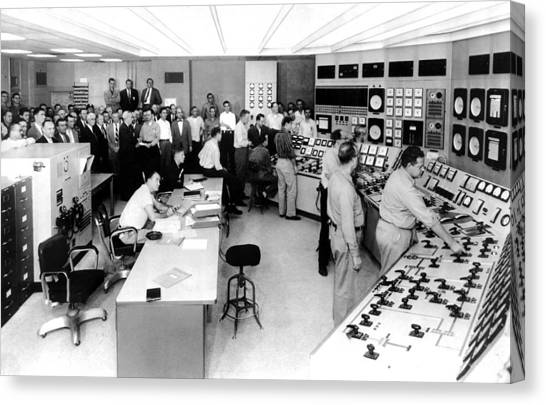 Nuclear Plants Canvas Print - Control Room Of The Shippingport by Everett