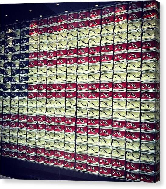 Hips Canvas Print - #converse #sneaker #red #white #blue by Alex Mamutin