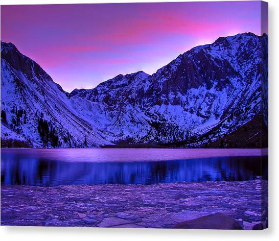 Lake Sunsets Canvas Print - Convict Lake Winter Sunset by Scott McGuire