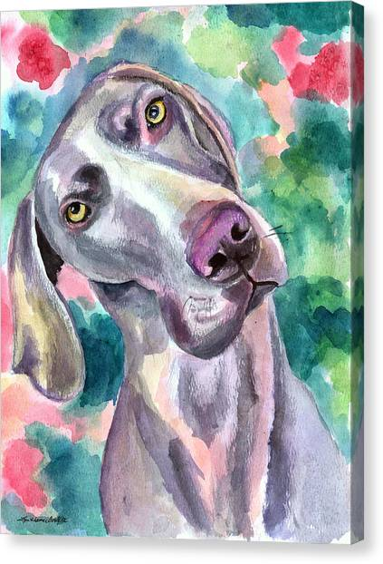 Weimaraners Canvas Print - Cookie - Weimaraner Dog by Lyn Cook