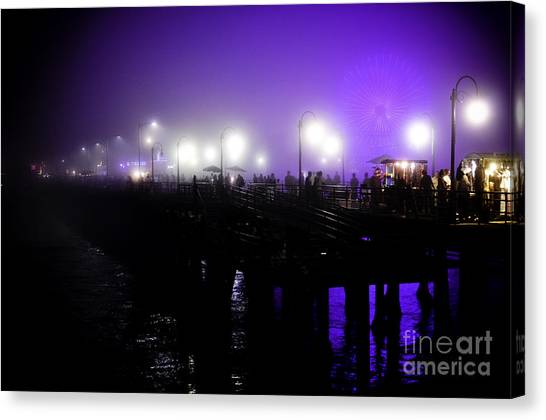Cool Night At Santa Monica Pier Canvas Print