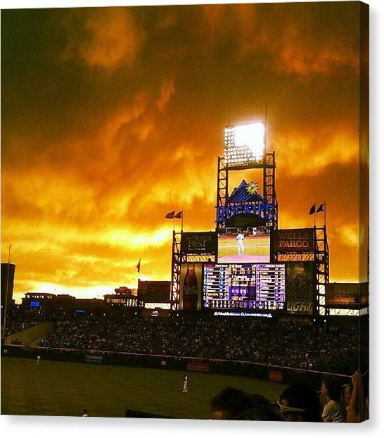 Baseball Teams Canvas Print - Coors Field On Fire #mymasterpiece by The Ambs