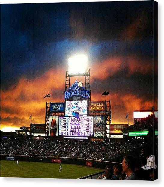 Baseball Teams Canvas Print - Coors Field Smoke And Fire #myroxpix  by The Ambs