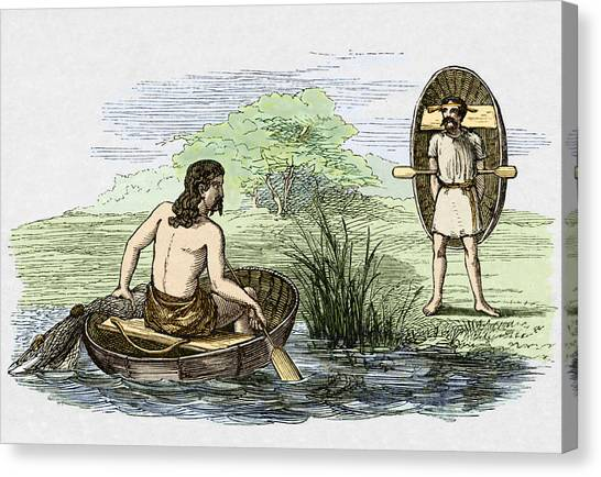 Coracle Boats Of The Ancient Britons Canvas Print by Sheila Terry