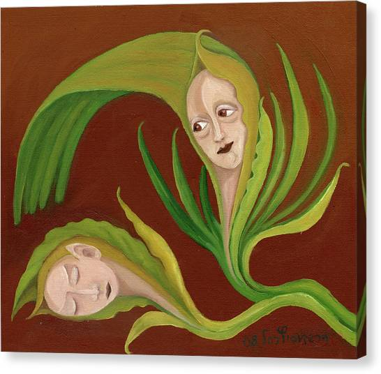 Corn Love Fantastic Realism Faces In Green Corn Leaves Sleeping Or Dead Loving Or Mourning Gree Canvas Print