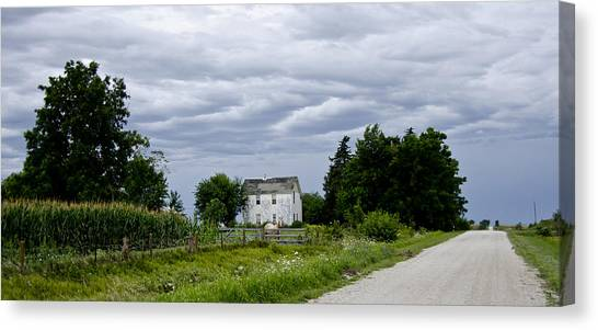 Corn Storm Clouds Horse Dirt Road Old House Canvas Print