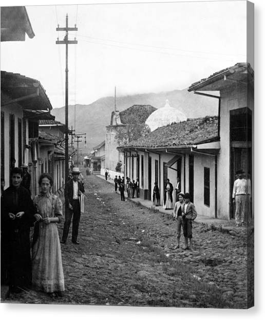 Costa Rican Canvas Print - Costa Rica - Village Street Scene - C 1905 by International  Images