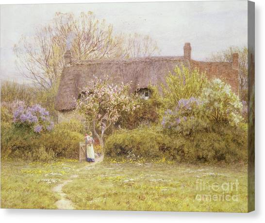 Country Canvas Print - Cottage Freshwater Isle Of Wight by Helen Allingham