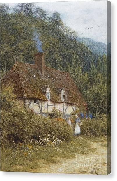 Helen Canvas Print - Cottage Near Witley Surrey by Helen Allingham
