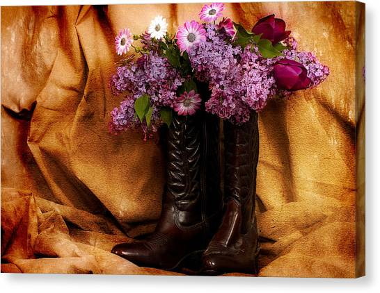 Country Boots And Flowers Canvas Print by Trudy Wilkerson