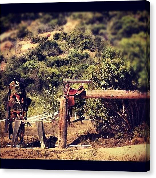Saddles Canvas Print - #country #california #jamul #saddles by Eva Martinez