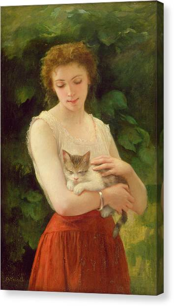 Redheads Canvas Print - Country Girl And Her Kitten by Charles Landelle